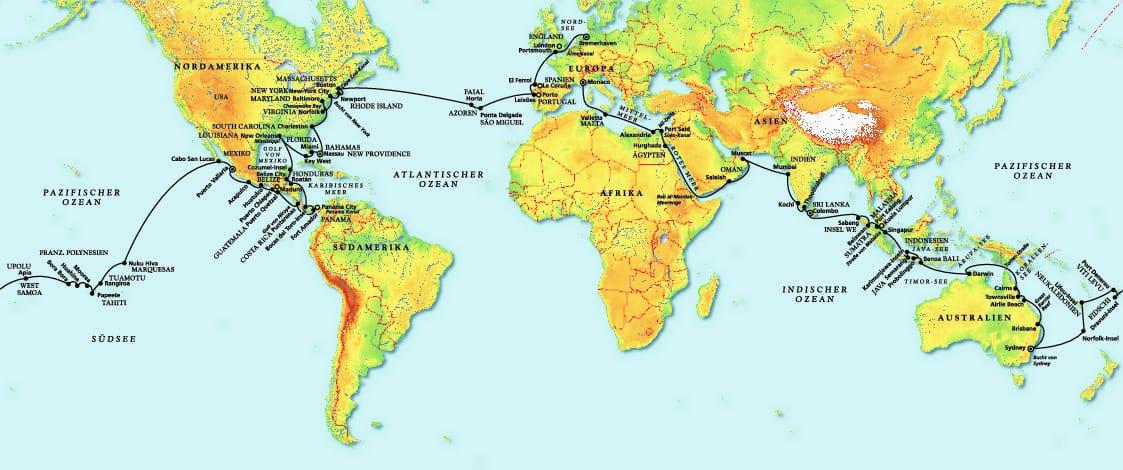 In 125 Tagen um die ganze Welt mit MS Amera