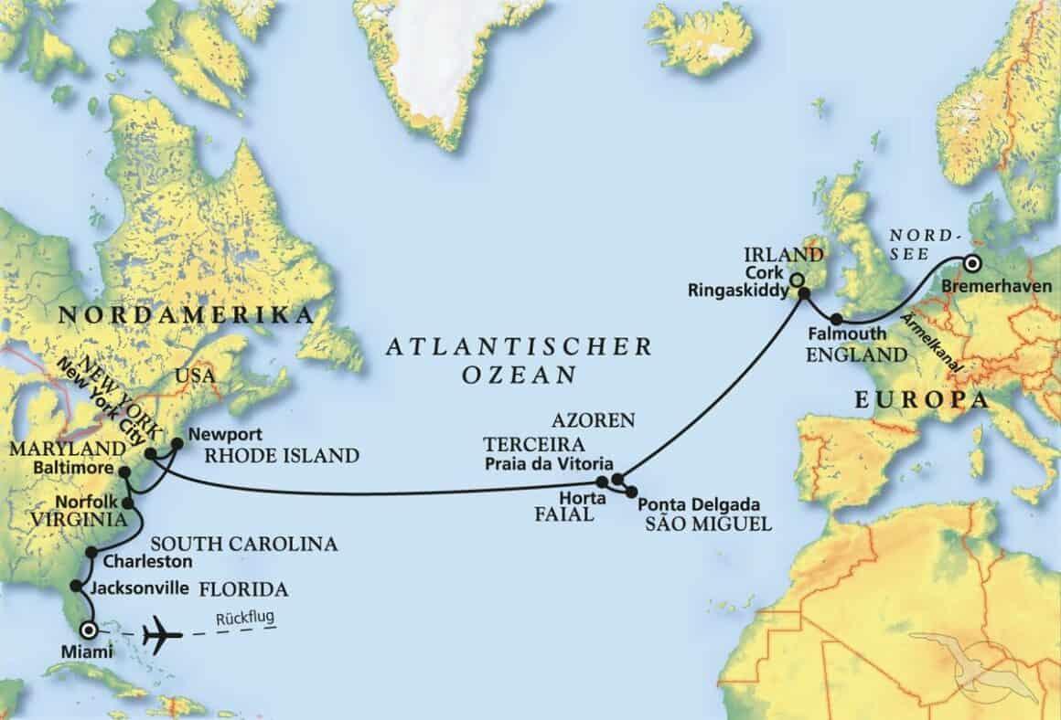 Ärmelkanal – Azoren – Amerika